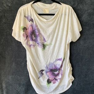 Anthropologie t.LA Floral Ruched Tee